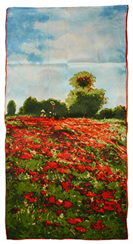(YSSP, Poppy Field in Argenteuil Van, Gogh and Claude Monets Paintings, Fashion Silk Scarf Premium Shawl Wrap Art)