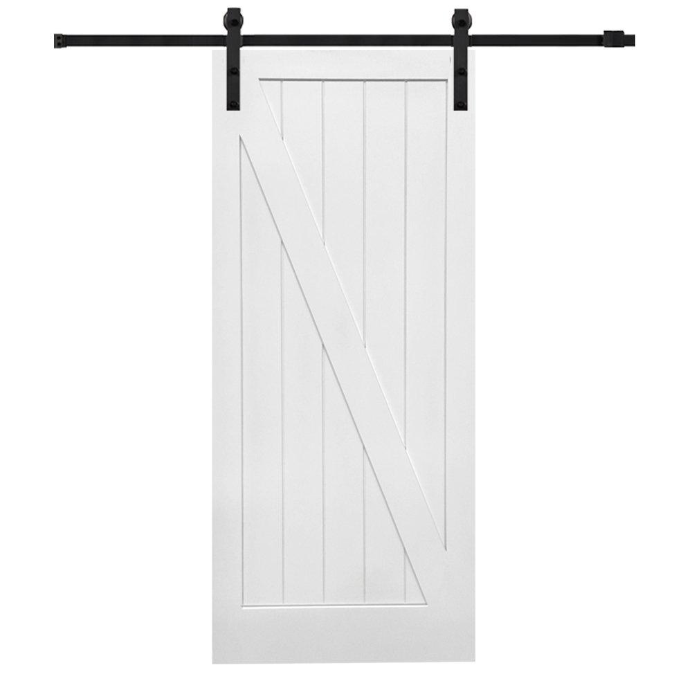 National Door Z0341697 Solid Core MDF Z-Bar Planked, Primed, 42'' x 84'', Barn Door Unit