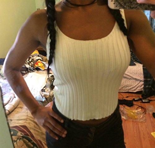 SweatyRocks Women's Ribbed Knit Crop Tank Top Spaghetti Strap Camisole Vest Tops
