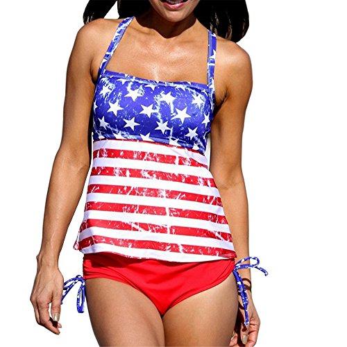 40af0d74a7 GWELL Womens American Flag Bikini Plus Size Swimwear Tankini 2 PCS (L, #2)