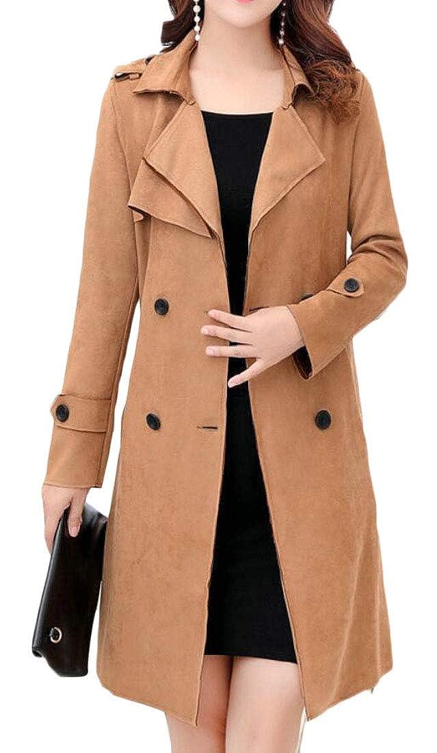 1 Esast Women DoubleBreasted Trench Coat Belt Long Sleeve Jackets