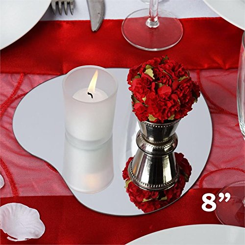 Tableclothsfactory 8'' Heart Glass Mirror Wedding Party Table Decorations Centerpieces - 6 PCS by Tableclothsfactory