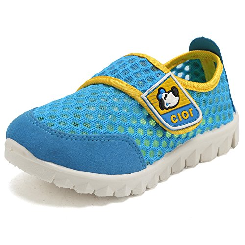 CIOR Kid's Mesh Lightweight Sneakers Baby Breathable Slip-on For Boy and Girl's Running Beach Shoes(Toddler/Little Kid),Blue01,29 0