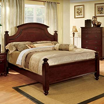 gabrielle french country dark cherry finish queen size bed frame set
