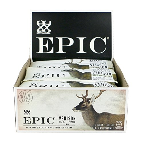 Epic All Natural Meat Bar  100  Grass Fed  Venison  Sea Salt   Pepper  1 5 Ounce Bar  12 Count