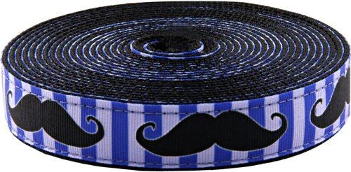 Country Brook Design 3/4 Inch Moustache Ribbon on Black Nylon Webbing, 5 Yards
