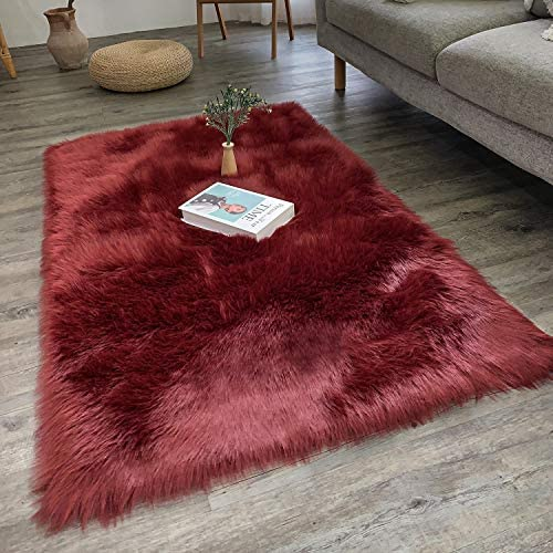 Dikoaina Classic Soft Faux Sheepskin Chair Cover Couch Stool Seat Shaggy Area Rugs for Bedroom Sofa Floor Fur Rug Burgundy, 3ft x 5ft Rectangle