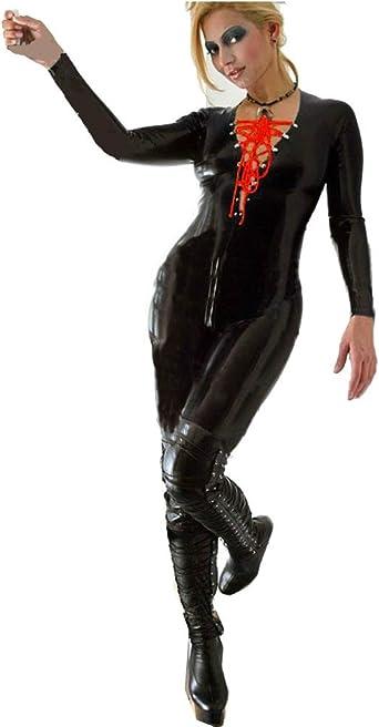 Red Metallic Jumpsuit,Catsuit,One Piece,High Neck Zip Front Adult Women  ON SALE