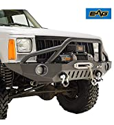 EAG Front Bumper with LED Lights and Winch Plate Fit 84-01 Cherokee XJ / 84-01 Comanche MJ.