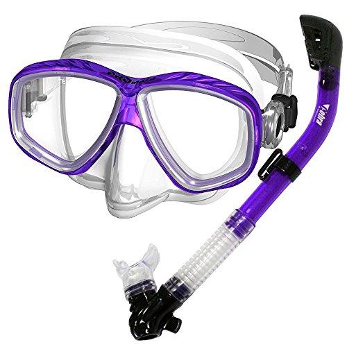 PROMATE Snorkeling Scuba Dive DRY Snorkel PURGE Mask Gear Set, T.Purple