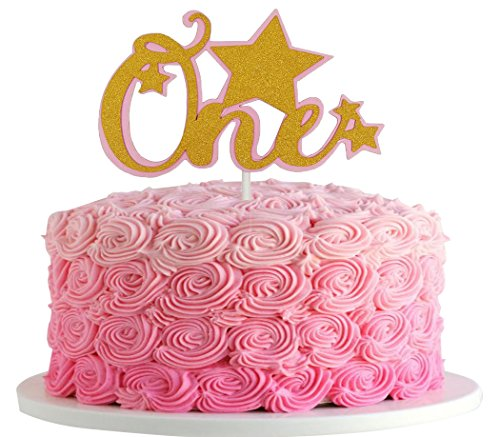 Birthday Star Cake (Jefferson Twinkle Twinkle Little Star 1st Birthday Gold One Cake Toppers for Baby First Birthday Party Decor (Pink))