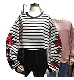 2018 Hoodies Roses Embroidery Lantern Sleeve Loose Striped Women Sweatshirt Girl Vintage Elegant Casual Tops, Black, One Size at Amazon Womens Clothing ...
