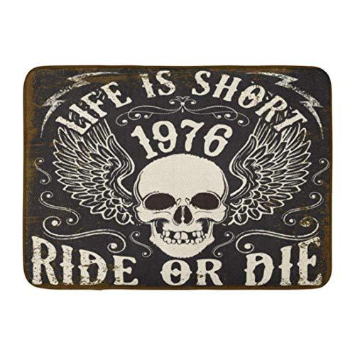 DREAM-S Doormats Bath Rugs Outdoor/Indoor Door Mat Motorbike Motorcycle Skull Tee Graphic Motor Biker Badge Racer Cafe Bathroom Decor Rug 16