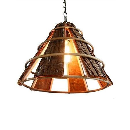 XIAOXY Cortijo de madera Lámpara colgante vintage Lámpara de ...