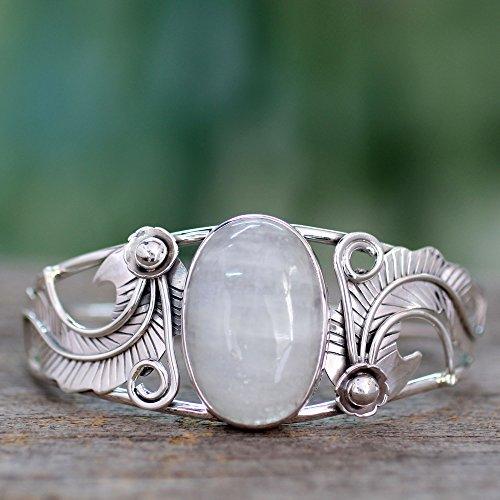 NOVICA Moonstone - Rainbow .925 Sterling Silver Cuff Bracelet 'Eternal Glow' by NOVICA (Image #3)