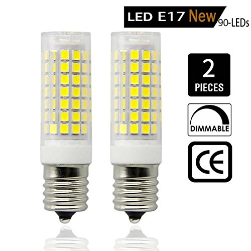LED E17 All New (90-LEDs), Intermediate Base led bulb, 7.5-8W (75W Halogen Bulbs Equivalent), for Microwave oven, Freezer, under-microwave stove light,Daylight White 6000k (Pack Of (Corn Stove)