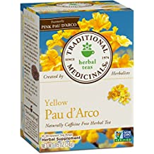 Traditional Medicinals Yellow Pau D'Arco Tea, 16 Tea Bags (Pack of 6)