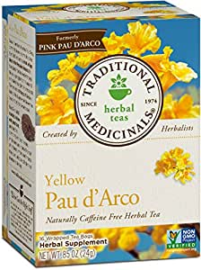 Traditional Medicinals Yellow Pau D'Arco Tea, 16 Tea Bags (Pack of 6)
