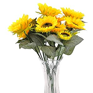 cn-Knight Artificial Flowers 2pcs 20'' Sunflower Bouquets with 7pcs Silk Flowers for Home Decor Housewarming Gift Centerpieces Wedding Bridal Bouquet Bridesmaid Office Baby Shower Reception(Yellow) 42