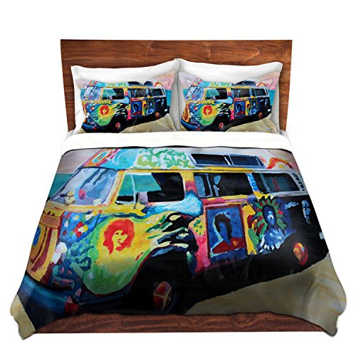 Duvet Cover Premium Woven Twin, Queen, King from DiaNoche Designs by Markus Bleichner Unique, Cool, Fun, Funky, Artistic, Designer, Stylish Home Decor and Bedroom Bedding Ideas - Here Comes the Sun Volkswagon Bus