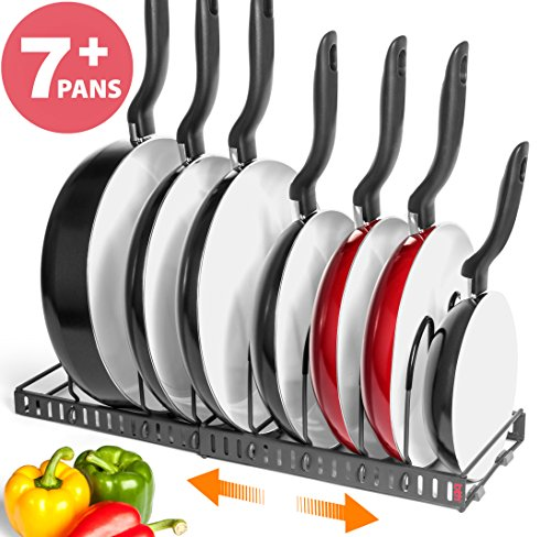 BTH NEW Expandable Kitchen Pan and Pot Organizer Rack: Stores 7+ Pans, Can Be Extended to 22.25'', Total 7 Adjustable Compartments, Cabinet Pantry Cupboard Bakeware Plate Holder Storage Solution by betterthingshome