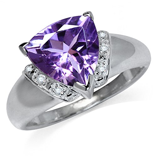3.08ct. Natural Trillion Shape Amethyst & White Topaz 925 Sterling Silver Cocktail Ring Size 8