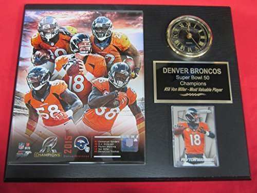 Denver Broncos Super Bowl 50 Champions Collectors Clock Plaque w/8x10 Photo and Card