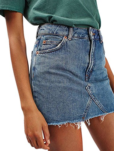 - Joeoy Women's Blue Casual High Waist Ripped A-Line Mini Short Denim Skirt-XL