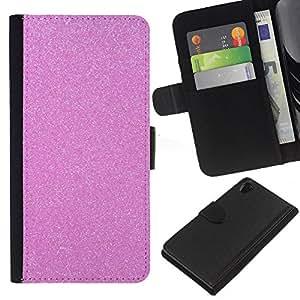 KLONGSHOP // Tirón de la caja Cartera de cuero con ranuras para tarjetas - diamante rosa de plástico espumoso - Sony Xperia Z2 D6502 //