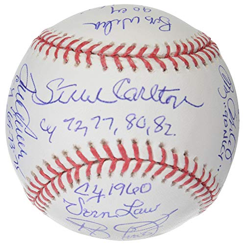 MLB Cy Young Award Winners Autographed Vintage Baseball with 12 Signatures & Inscriptions - PSA/DNA - Award Cy Young