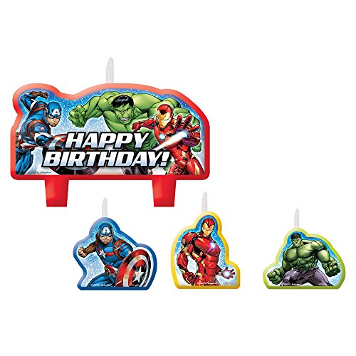 Amscan Epic Avengers Candle Sets (4 ct),white,one size]()