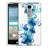 LG Escape2 Case, Snap On Cover by Trek Blue Flowers on White Case