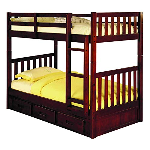 - American Furniture Classics 2810-TTMM Brown Pine Twin Over Twin Bunk Bed with 3-Drawer Underbed Storage and Mattresses Included