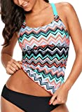 Womens Strappy Racerback Striped Color Block Printed Padded Tankini Tops Padded Swimsuits Sporty Bathing Suits Rose Swimwear L 12 14
