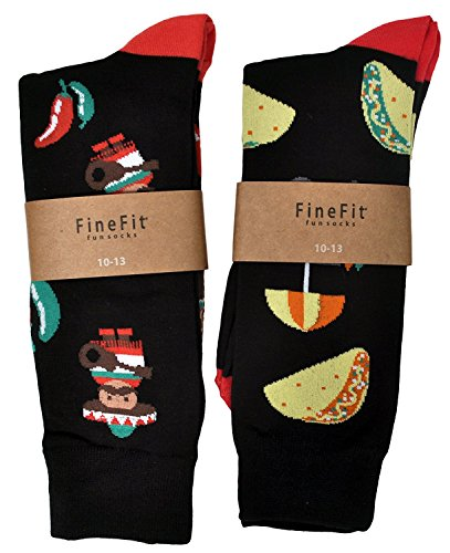 (Fine Fit Mens Novelty Trouser Socks 2 Pair Set - Choose Prints (Tacos & Chilis - Black))