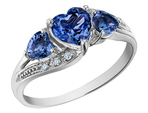 Created Blue Sapphire Heart Ring with Diamonds 1.53 Carat (ctw) in 10K White -