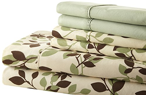 Spirit Linen Hotel 5Th Ave Palazzo Home 6-Piece Luxurious Printed Sheet Set, Queen, Green/Brown Leaves