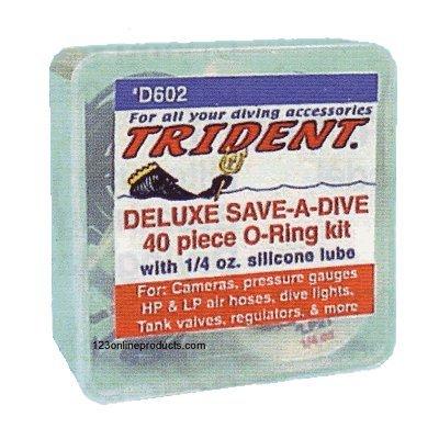 Trident Deluxe Save A Dive 40 Piece O-Ring Kit for Scuba Diving Tank Valves, Hoses, Regulators, Cameras etc Dive Diver