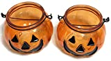 Glass Halloween Candle Holders with Handle ~ Pack of 2 (Jack -O-Lantern)