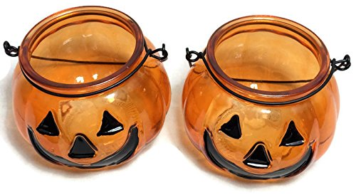 Glass Halloween Candle Holders with Handle ~ Pack of 2 (Jack -O-Lantern) -