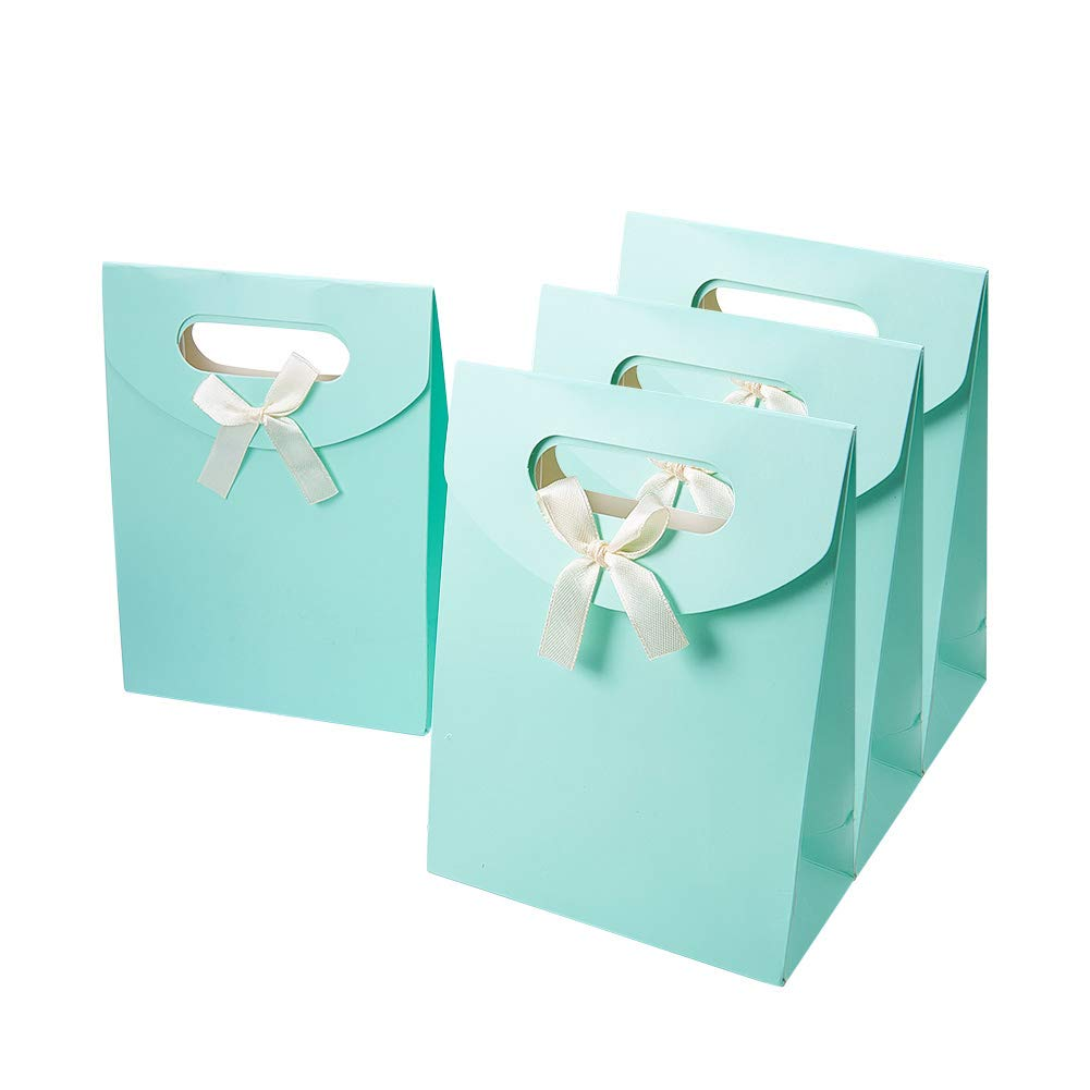 Pandahall Elite 60 pcs Paper Gift Bags with Ribbon Bowknot Design, PaleTurquoise color, 16.3x12.3cm