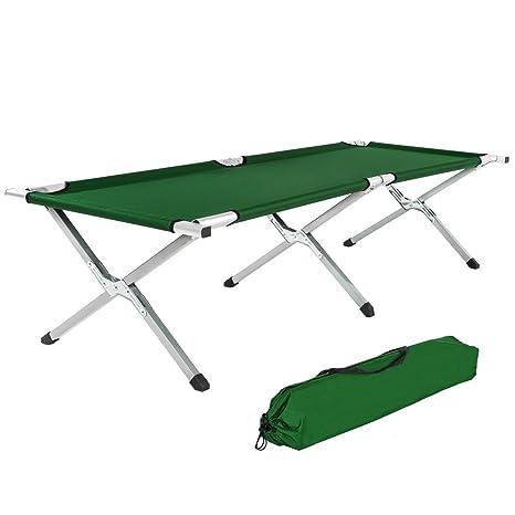 TecTake Cama de camping XL plegable capacidad de 150 kg + bolsa para transporte - disponible en diferentes colores - (Verde   No. 401213)