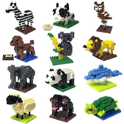 Jollysweets 12 Lovely Animals Modeling Mini Building Blocks Set for Boys&Girls, Puppy, Lion, Panda, Elephant, Sheep, Tortoise, Whale, Koala, Zebra, Chimpanzee