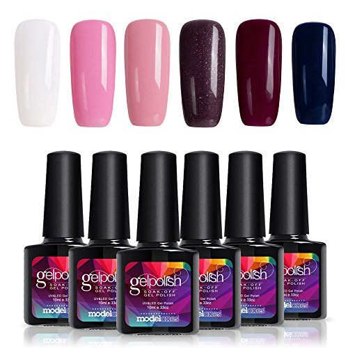 Modelones 6 Color Gel Nail Polish Pink Blue UV LED Nail Mani