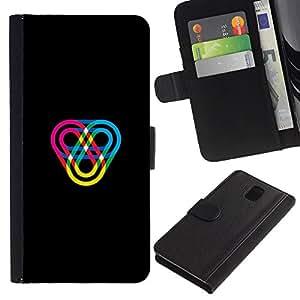 KLONGSHOP // Tirón de la caja Cartera de cuero con ranuras para tarjetas - Color Track - Samsung Galaxy Note 3 III //
