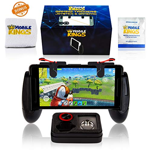 Mobile game controller | 2018 New bundle | Cellphone triggers Accessories for games PUBG Fortnite Knives Out | Christmas gift for kids & adults | IPhone & Android | Bonus – Wristband + Phone Ring -