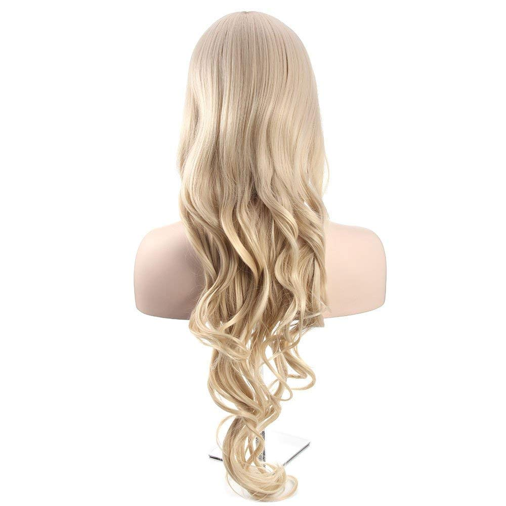Blonde Long Curly Wavy Wig, 34'' Synthetic Hair Replacements Cosplay Wigs