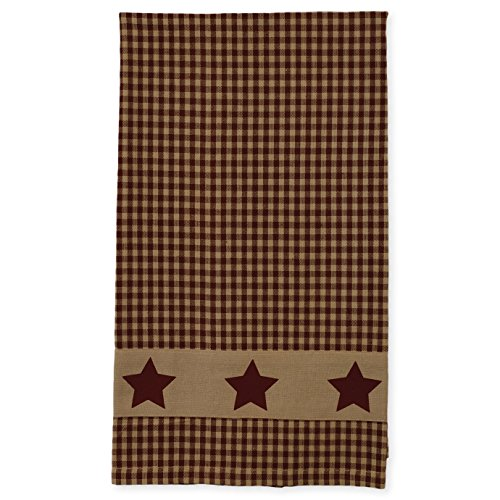 Colonial Burgundy Country Star 19 x 28 Inch Applique All Cotton Hand Tea Towel (Burgundy Star)