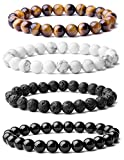 WRCXSTONE Natural 8mm Gorgeous Semi-Precious Gemstones Healing Crystal Stretch Beaded Bracelet Unisex (4 Pieces A Set(4 Colors))