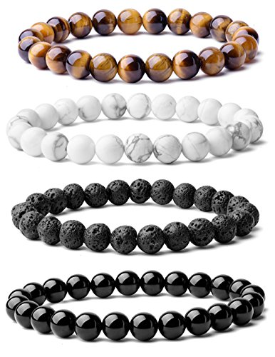 Gemstone Bracelet - WRCXSTONE Natural 8mm Gorgeous Semi-Precious Gemstones Healing Crystal Stretch Beaded Bracelet Unisex (4 Pieces A Set(4 Colors))